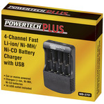 Universal Li-ion/Ni-Cd/Ni-MH Four channel battery charger with 1A USB output Australia